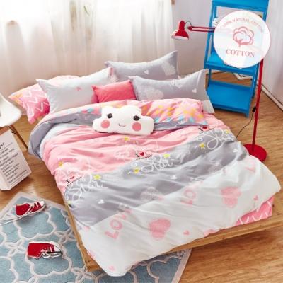 A-ONE 100%純棉-加大床包/枕套組-夢幻假日
