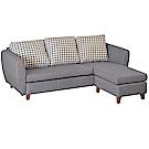 綠活居 巴吉尼耐磨亞麻布紋皮革L型沙發組合(三人座+椅凳)-209x157x73cm免組