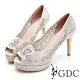 GDC-華麗時尚簍空雕花水鑽波浪魚口高跟鞋-金色 product thumbnail 1