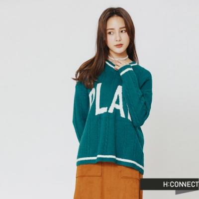 H:CONNECT 韓國品牌 女裝 - 滾邊麻花針織上衣-綠(快)