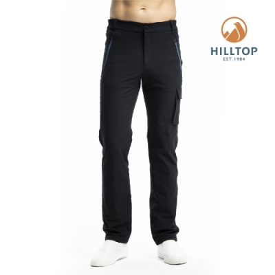 【hilltop山頂鳥】男款超潑水彈性保暖長褲H31ML6魚子醬黑
