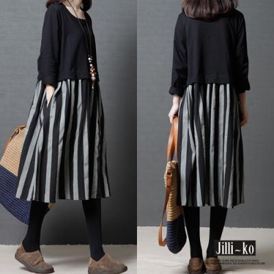 JILLI-KO 氣質寬鬆版假兩件拼接棉麻洋裝- 黑色