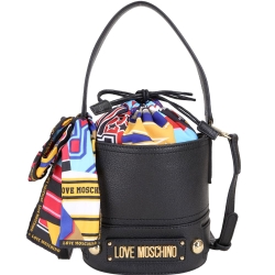 LOVE MOSCHINO 繽紛印花絲巾束口水桶包(黑色)