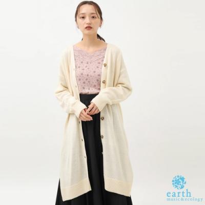 earth music 側開衩長版開襟針織罩衫