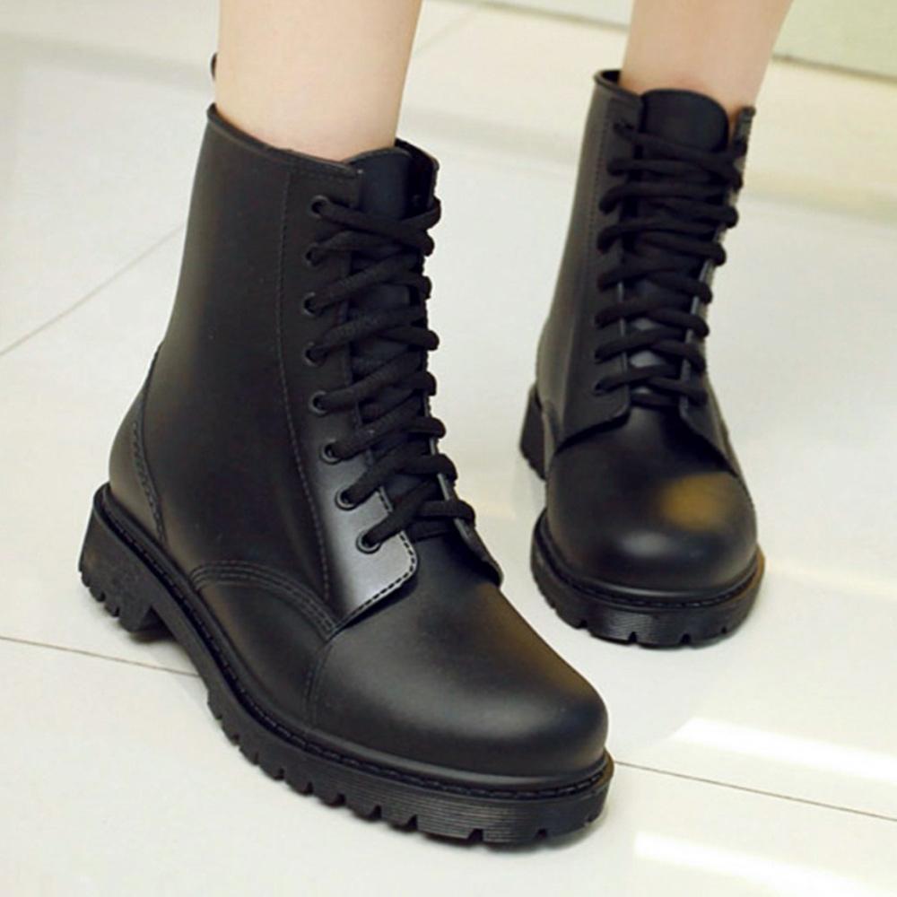 LN  現+預 時尚防滑綁帶馬丁雨靴(低筒/雨鞋/馬丁靴)