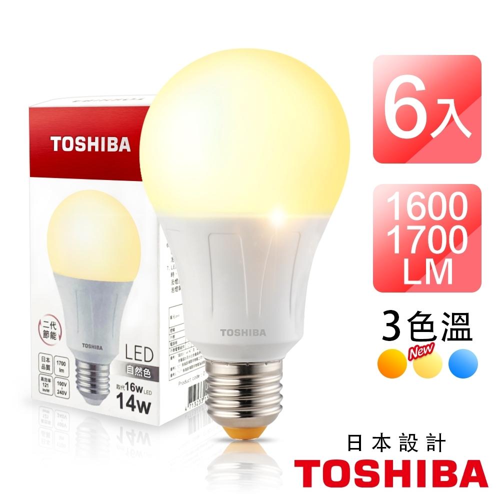 TOSHIBA東芝 6入組 第二代 高效球泡燈 廣角型 14W LED燈泡