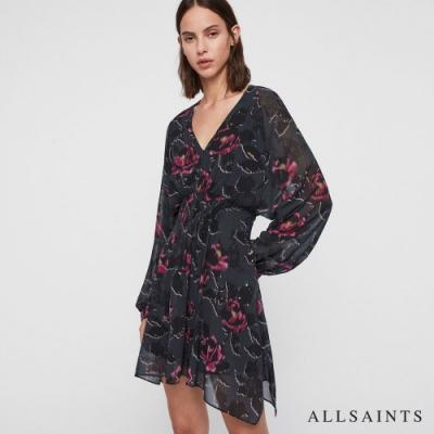 ALLSAINTS NICHOLA ROSALYN 花漾印花短版長袖洋裝-黑