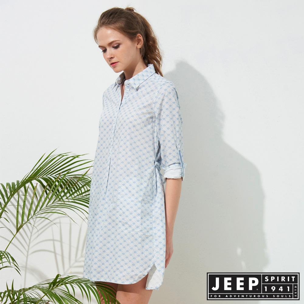 JEEP 女裝 和風圖騰襯衫式洋裝-天空藍