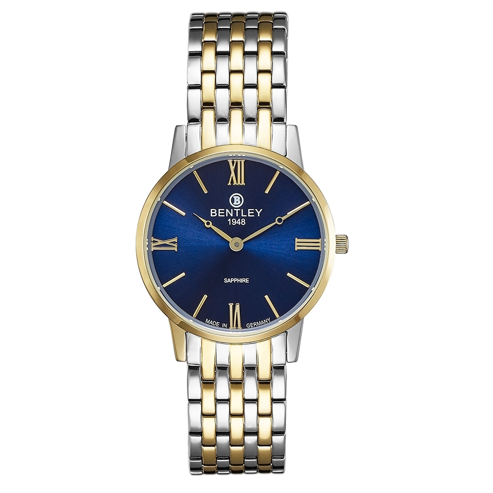 BENTLEY賓利 永恆愛戀系列 真情時刻手錶-藍x金銀/32mm