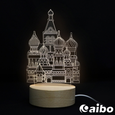 北歐風3D立體造型 LED原木底座USB小夜燈(線控開關)-古堡