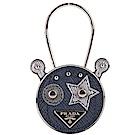 Prada Saffiano 防刮牛皮機器人吊飾/鑰匙圈(海藍色)