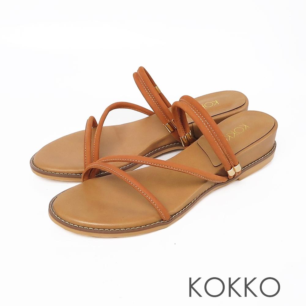 KOKKO女神細帶內增高楔型2WAY涼鞋-奶茶色