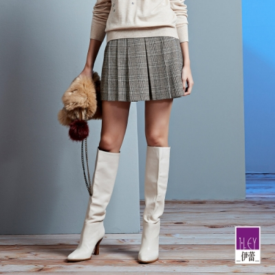ILEY伊蕾 學院風格紋百摺褲裙(灰)