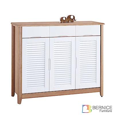 Bernice-艾諾克4尺實木三門三抽百葉鞋櫃-120x41x102cm