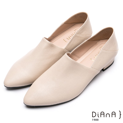 DIANA素色兩穿2way羊皮樂福鞋-簡約時尚-米