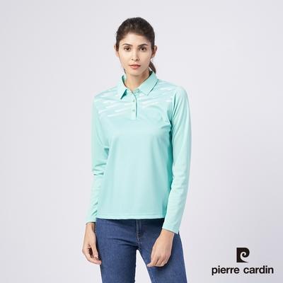 Pierre Cardin皮爾卡登 女款 吸濕排汗胸前數位印花網眼針織薄長袖POLO衫-湖水綠(4195203-42)