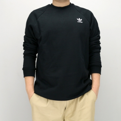 ADIDAS ESSENTIAL CREW 男 大學T 黑-DV1600