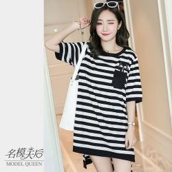 名模天后-氣質貓口袋條紋造型上衣-黑白條-(M-2XL)