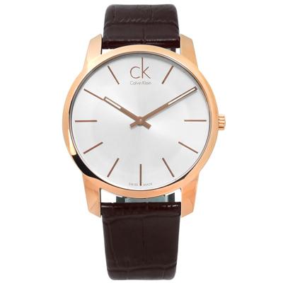CK City 城市都會時尚皮革手錶-銀x玫瑰金框x咖啡/43mm