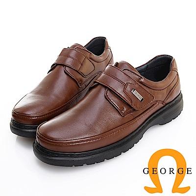 GEORGE 喬治皮鞋 輕量系列 圓頭素面黏帶氣墊鞋 -咖