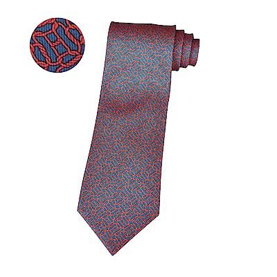 HERMES愛馬仕LONGES經典緹花LOGO幾何圖形設計蠶絲領帶(海洋藍x紅)