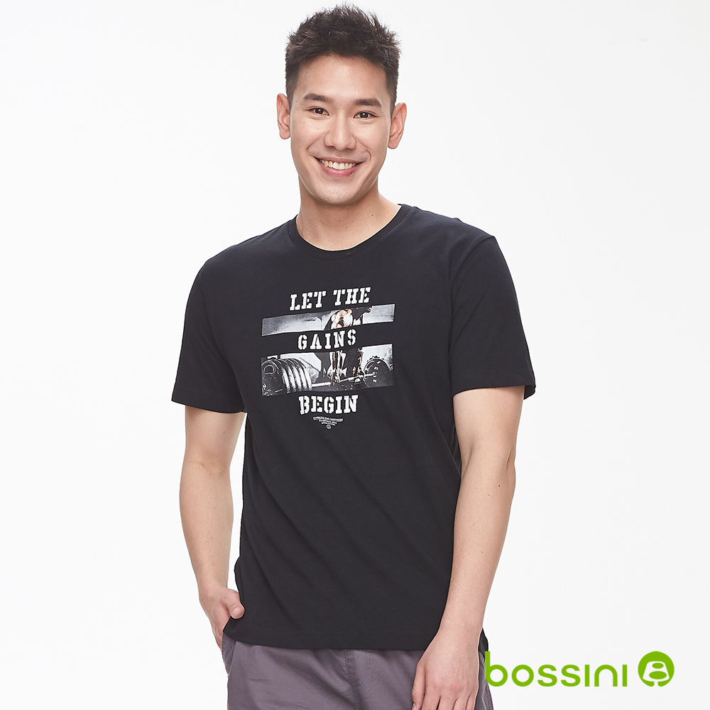 bossini男裝-印花短袖T恤13黑