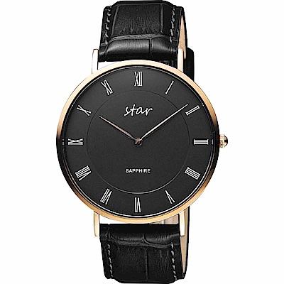STAR 時代 城市情人羅馬石英手錶-黑x玫塊金框/41mm