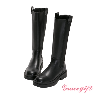 Grace gift-厚底切爾西低跟長靴 黑