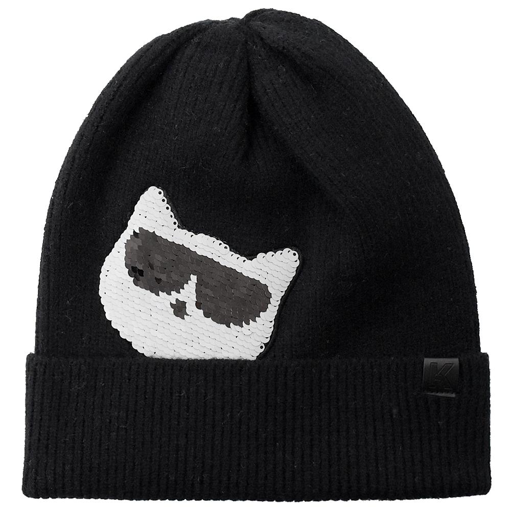 KARL LAGERFELD 亮面貓咪墨鏡造型針織毛帽(黑)