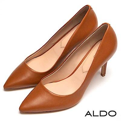 ALDO 原色真皮綴金屬LOGO尖頭細高跟鞋~大人焦糖