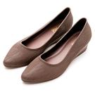 River&Moon防水鞋-晴雨二穿Q軟髮絲紋尖頭楔型跟鞋-咖啡
