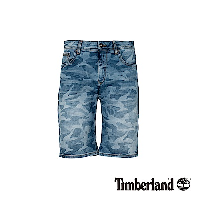 Timberland 男款藍色迷彩牛仔短褲|A1WJ6