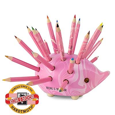 【KOH-I-NOOR】捷克色鉛筆刺蝟筆筒(小) – 粉紅波紋 附色鉛筆