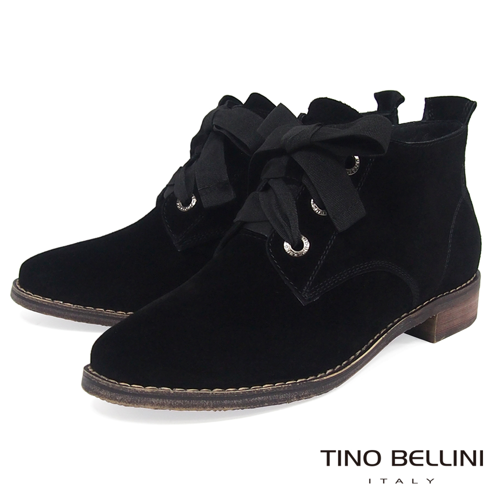 Tino Bellini牛麂皮緞帶綁帶短筒靴_黑