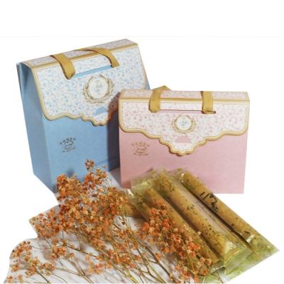 艾格諾先生手工蛋捲 幸福禮盒 (芝麻+玫瑰)單支袋包裝20入
