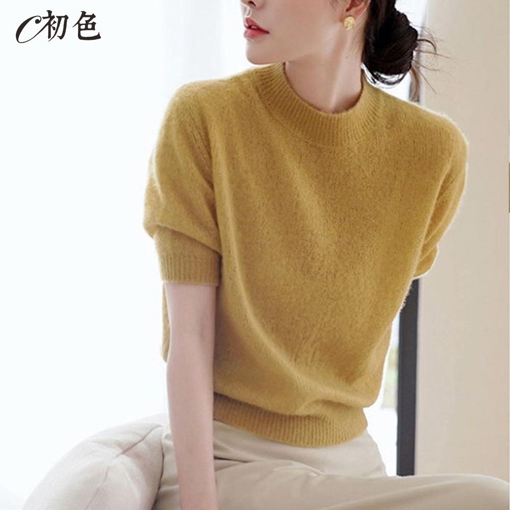 初色  純色圓領短袖針織衫-秋香黃-(F可選)