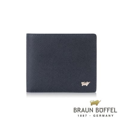 【BRAUN BUFFEL 德國小金牛】台灣總代理 尚恩A 8卡皮夾-藍色/BF354-313-NY