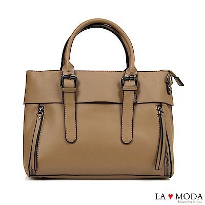 La Moda 本季熱銷多Way質感面料大容量肩背斜背醫生包(杏)