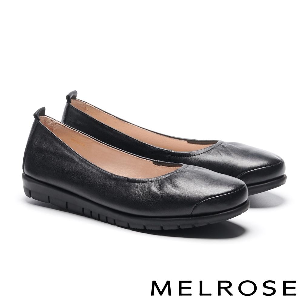 娃娃鞋 MELROSE 經典舒適純色全真皮厚底娃娃鞋-黑