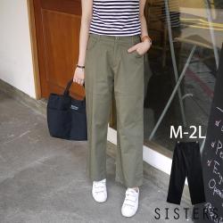 素面後鬆緊腰寬褲裙(M-2L) SISTERS