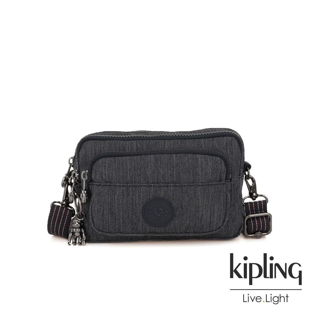 Kipling 未來感極簡風深灰丹寧兩用腰間側背包-MULTIPLE