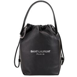 YSL Saint Laurent TEDDY 小羊皮束口水桶包(黑色)
