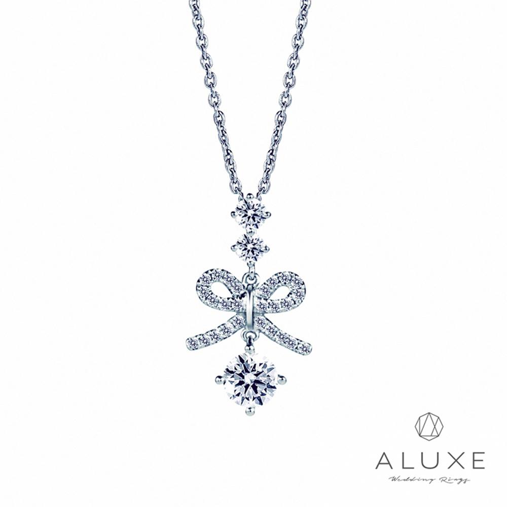 ALUXE亞立詩 0.30克拉FVS2 蝴蝶結美鑽項鍊