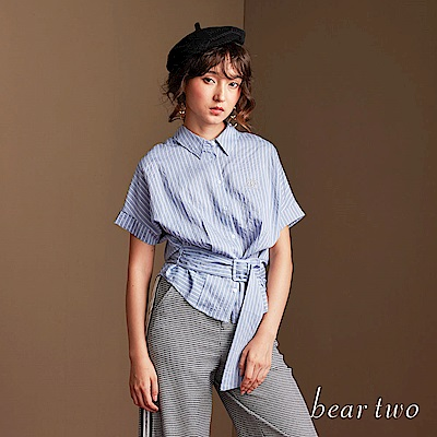 beartwo 輕鬆俏皮條紋修身連袖襯衫(二色)