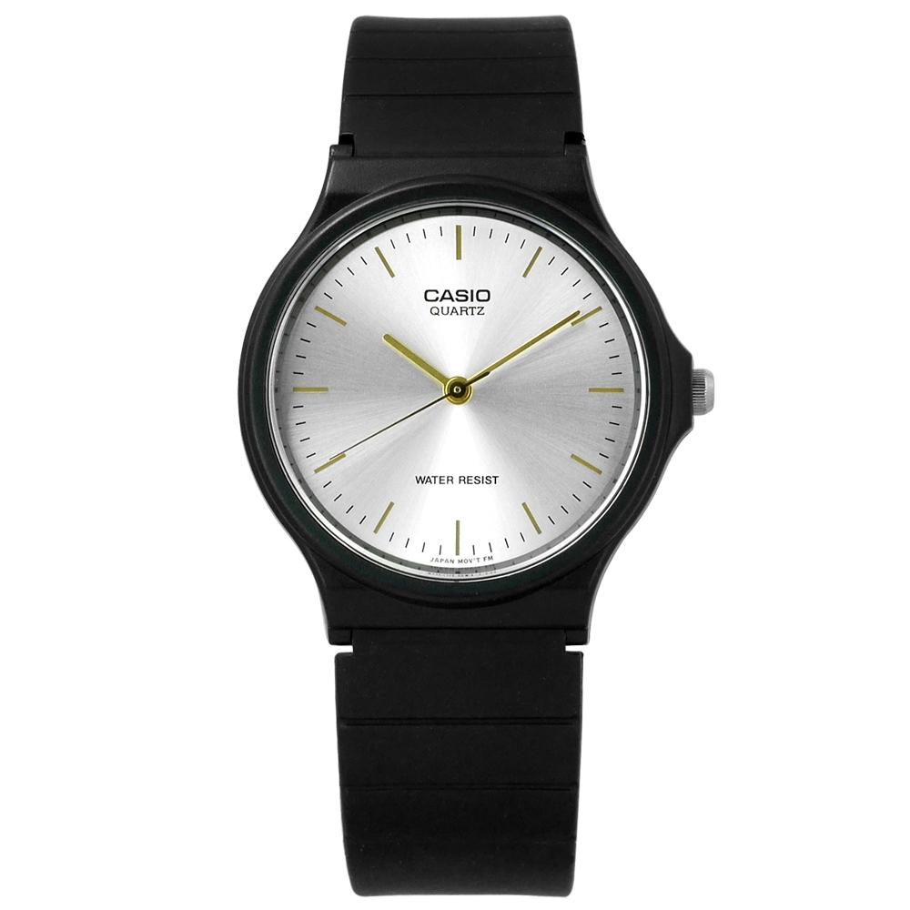 CASIO 卡西歐 簡潔復刻 橡膠手錶-銀x黑 MQ-24-7E2 33mm