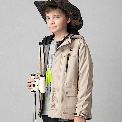 FILA KIDS 童超潑水防蚊風衣外套-淡棕色 1JKS-8315-LG