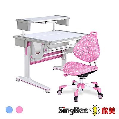【SingBee欣美】多功能氣壓桌+收納上層板+137巧學椅-兒童成長桌椅/台灣製/書桌椅