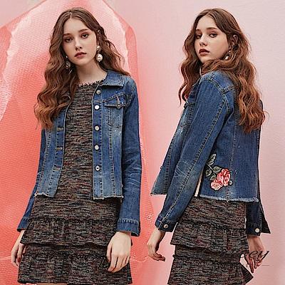 OUWEY歐薇 率性玫瑰花貼布繡造型刷色鬚邊短版牛仔外套(藍) @ Y!購物