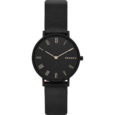 Skagen Signatur 羅馬字雙針手錶-黑/34mm