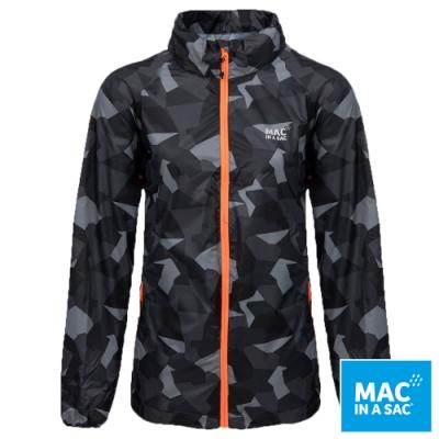【MAC IN A SAC】男女款輕巧袋著走炫彩防水透氣輕量外套MNS117迷彩黑